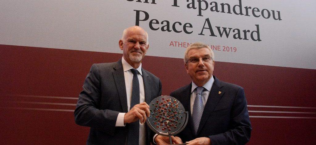 Ο Πρόεδρος της Διεθνούς Ολυμπιακής Επιτροπής, Thomas Bach, βραβεύτηκε με το Βραβείο Ειρήνης Παπανδρέου-Τζεμ
